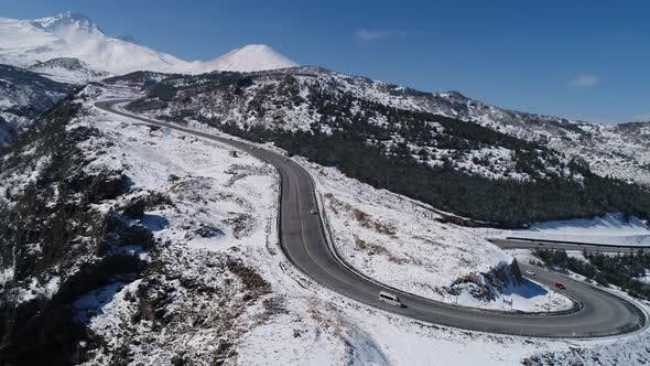 Cover Image for Winter Mountains Road With Forest