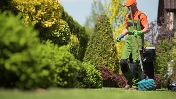 Thumbnail for Worker Raking Grass Field in a Garden