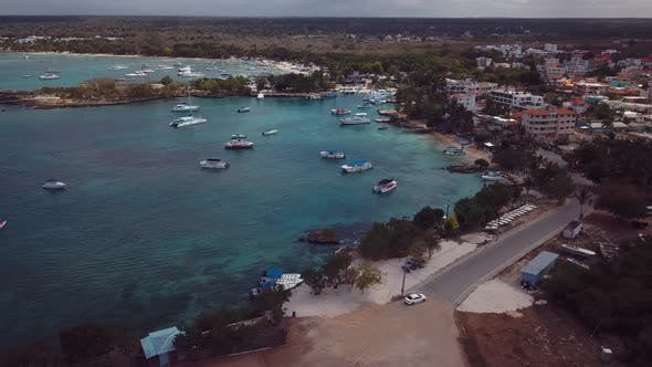 4k 24fps Drone Shoot Of Beach Town In The Caribbean
