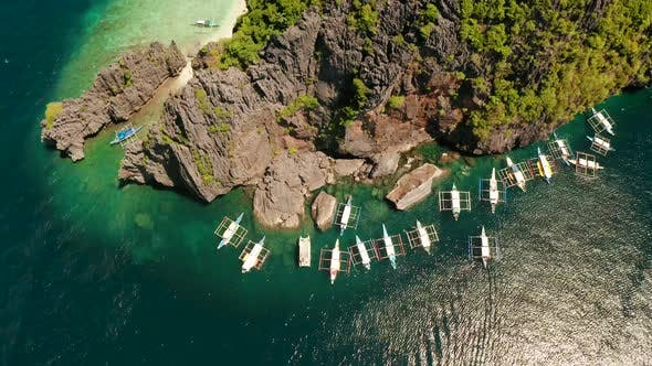 Thumbnail for Aerial View of Boats and Limestone Cliffs. El Nido, Philippines