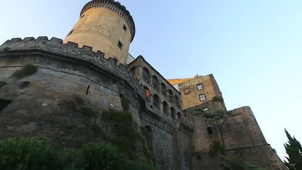 Thumbnail for Ancient facade of Maschio Angioino castle in Naples, architecture, heritage