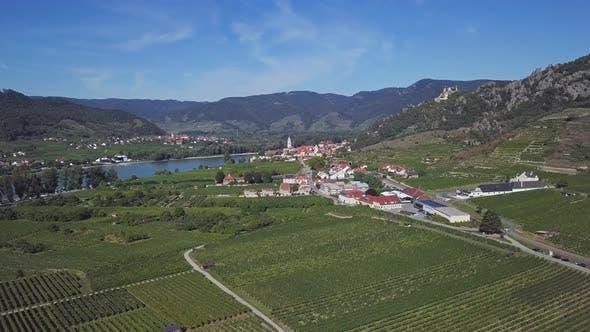 Aerial of Durnstein, Wachau Valley, Austria