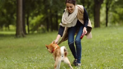 Female Owner Playing with Pet