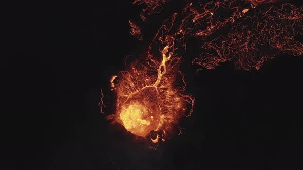 Drone At Night Over Lava Flow From Erupting Fagradalsfjall Volcan