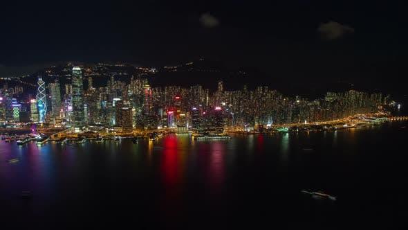 Cityscape Modern Hong Kong City Buildings on Coastline