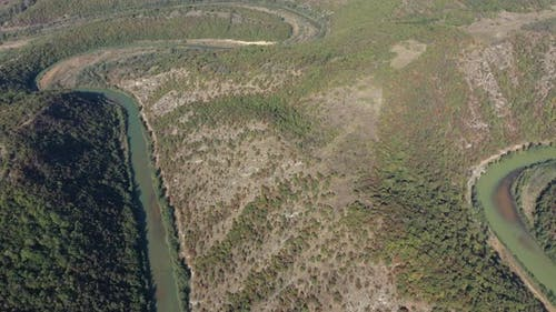 High above green Timok river meander 4K aerial footage