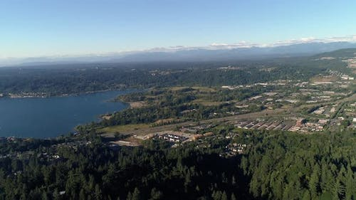 Aerial Over Cougar Mountain Of Lake Sammamish Park In Issaquah Washington