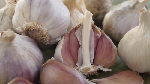 Garlic Clove or Garlic Bulb on Vintage Wooden Background