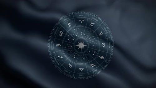 Zodiac Horoscope Flag Loop Background 4K