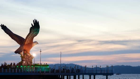 Thumbnail for Eagle Statue in Langkawi Summer Sunset Timelapse in Malaysia