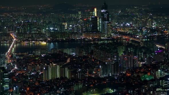 Thumbnail for Timelapse Large Seoul Ocean Bay and Illuminated Roads