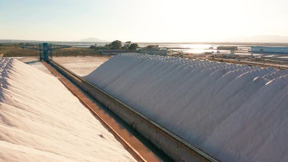 Thumbnail for Aerial View of Industrial Extraction of Salt in the Desert, Pile of Salt.