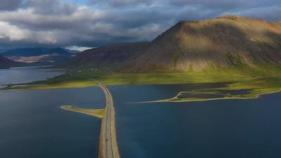 Iceland. Aerial view on the mountain and road. Landscape in the Iceland at the day time