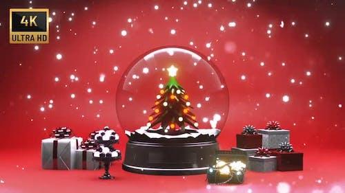 Christmas Globe And Snowfall