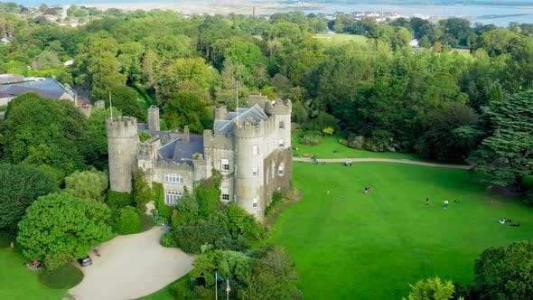 Thumbnail for Aerial view over medieval Irish castle