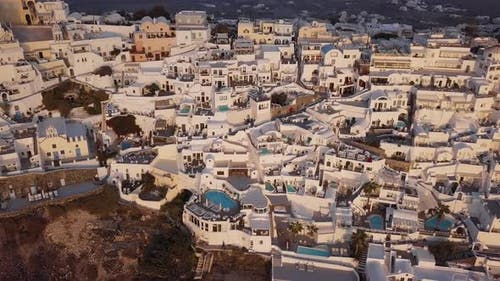 Aerial View of Villas in Fira at Sunset Santorini