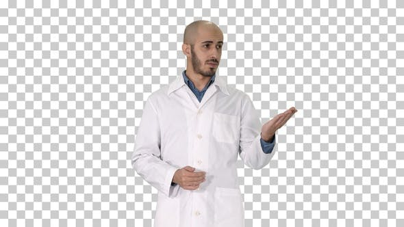 Thumbnail for Arab doctor man in medical coat talking and presenting with