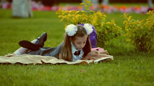 Little Beautiful Girl Scrolls Album with Drawings on a Plaid on the Grass