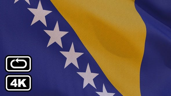 Thumbnail for Bosnia And Herzegovina Flag 4K Seamless Loop
