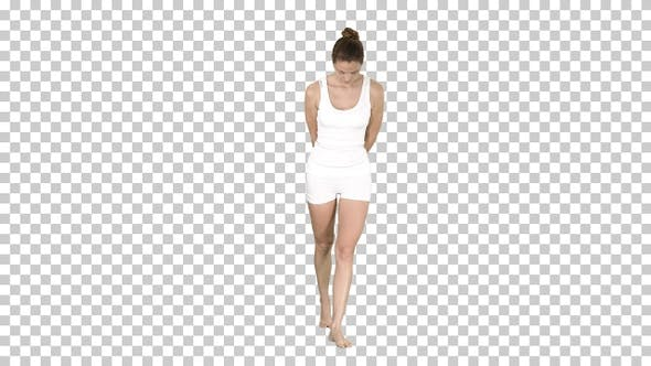 Young woman white walking and looking down, Alpha Channel