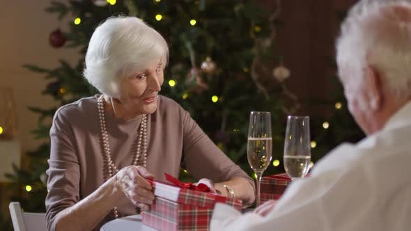 Thumbnail for Elderly Woman Receiving Christmas Present from Husband