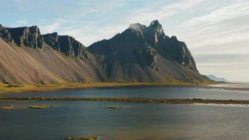 Aerial Drone Footage of Vestrahorn Mountain and Stokksnes Beach