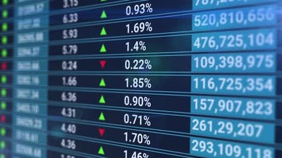 Animation of Stock Market Data Rolling and Processing Over a Grid. Global Economy Stock Market
