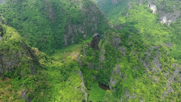 Thumbnail for Aerial View of Ninh Binh Region, Trang an Tam Coc Tourist Attraction in Vietnam