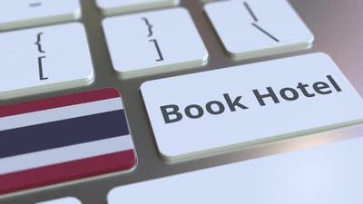 BOOK HOTEL Text and Flag of Thailand on the Buttons