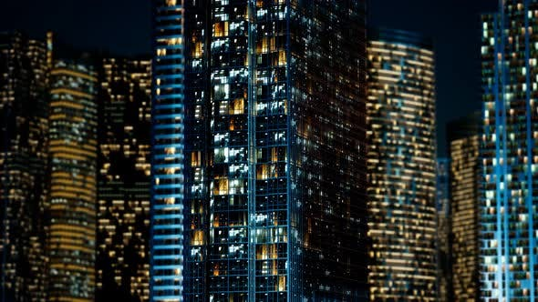 Thumbnail for Skyscrapper in the Business Quarter in the Night