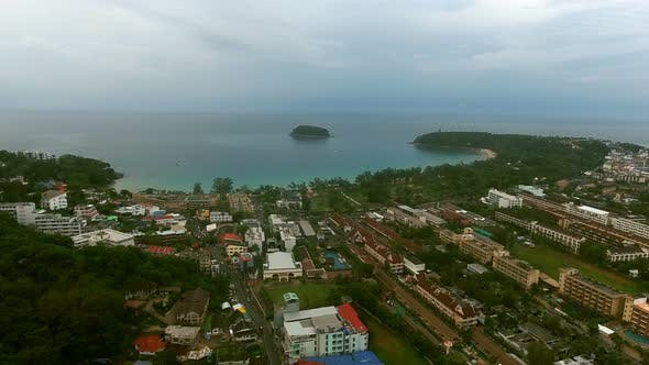 Thumbnail for Drone Flying in the Blue Cloudy Sky Over the Sea Coast