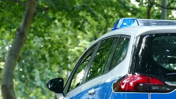Polizeiauto mit blinkenden Lichtern im Stadtpark
