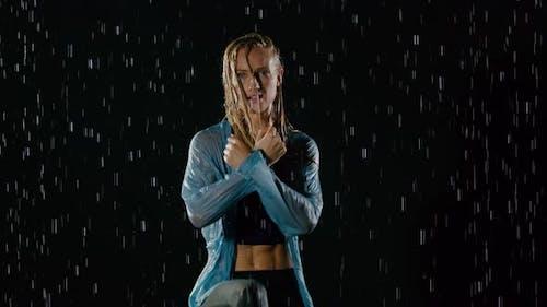 Beautiful Female Hip Hop Dancer In The Rain