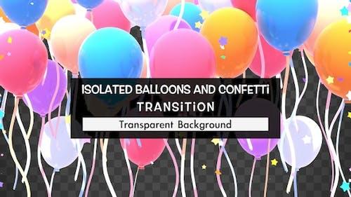 Isolierte Ballone Und Konfetti-Übergang