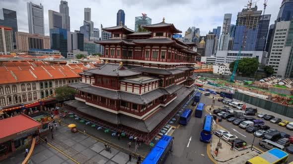 Time-lapse of The Buddha Tooth Relic Temple in Chinatown, it is famous temple in Singapore