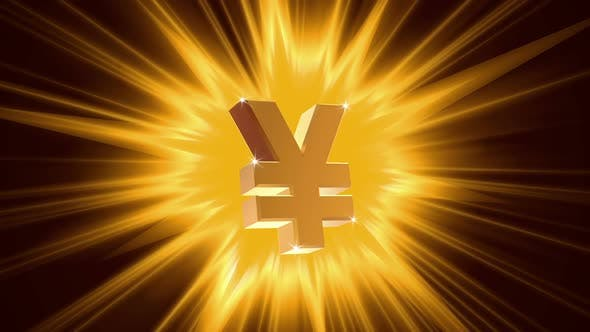 Thumbnail for Yen Sign on Radiant Light Background, Success, Large Income, Jackpot Winner