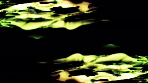 Abstract animation with wide, curved, green lines under the calm flow of water