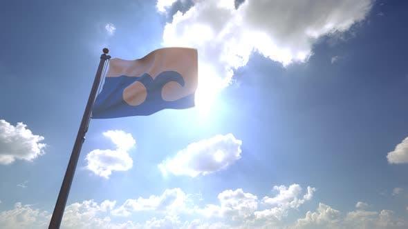 Ocean City Flag (Maryland) on a Flagpole V4 - 4K