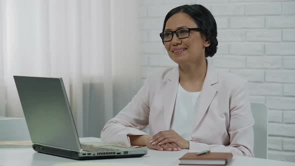 Cover Image for Business Woman Listening to Visitor, Lady Looking Into Happy Successful Future