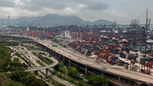 Thumbnail for Container Terminal Wide Overpass Hong Kong Highway By Modern Harbour