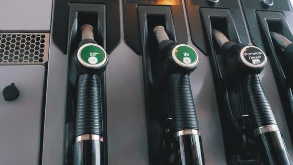 Thumbnail for Gasoline or Petrol Station Gas Fuel Pump Nozzle. Different Gasoline Gun