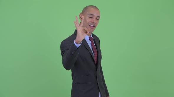 Thumbnail for Happy Bald Multi Ethnic Businessman with Ok Sign