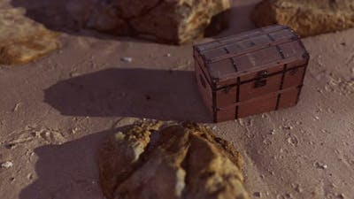 Wooden Treasure Box On The Beach