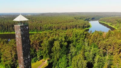 Lithuania Sightseeing Landmark With Tourist In Birstonas