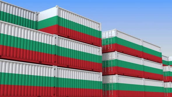 Container Terminal Full of Containers with Flag of Bulgaria