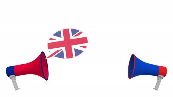 Flags of Russia and the United Kingdom on Speech Bubbles