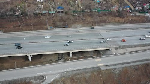 View From a Drone of Cars Moving Along a Multilane Highway
