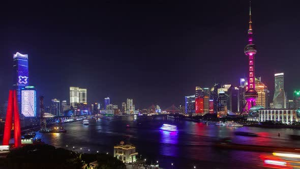 Thumbnail for Chinese Boats Reflected on Huangpu in Shanghai Timelapse