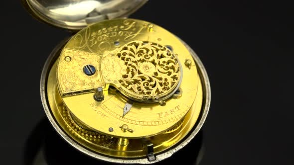 Vintage Pocket Watch Rotate, Black Background