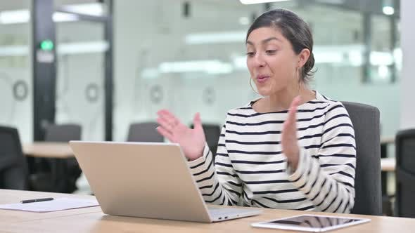 Thumbnail for Surprised Indian Woman Feeling Shocked Using Laptop